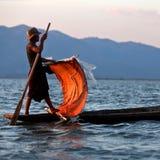 Fisherman of Intha tribe people, Myanmar Stock Image