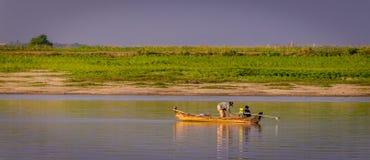 Fisherman Irrawaddy river, Myanmar Royalty Free Stock Image