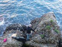 Fisherman in Italy. Liguria.Northern Italy Stock Photos
