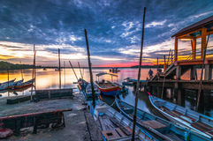 Fisherman jetty during sunrise. This fisherman jetty located at Pulau Indah, Port Klang, Selangor, Malaysia royalty free stock image