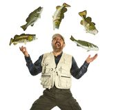 Fisherman juggling with fish showing excitemment. Fisherman juggling with fish showing excitement isolated on a white background Royalty Free Stock Photo