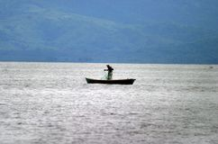 Fisherman in Lake Izabal Stock Photography