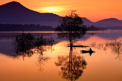 Fisherman. Lake in Lampang  THAILAND Royalty Free Stock Photography