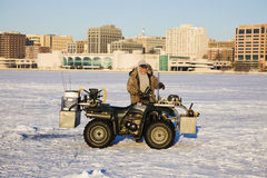 Fisherman on Lake Monona Stock Images