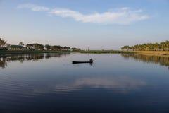 Fisherman in lake Royalty Free Stock Photography