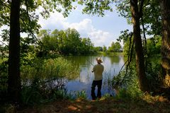 Fisherman. In the lake during sunny day Royalty Free Stock Photos
