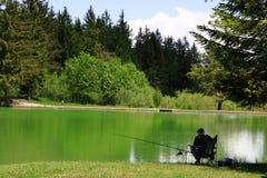 Fisherman. By lake Volcje in solitude Stock Photos