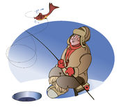 Fisherman on lake winter. A fisherman in warm clothes caught a fish on a bait on ice fishing Stock Image