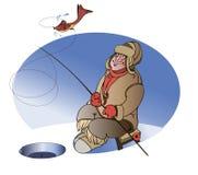 Fisherman on lake winter Stock Image