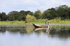 Fisherman life in madagascar countryside on river Royalty Free Stock Photo