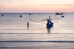 Fisherman life in the morning Stock Photography
