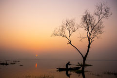 Fisherman. Life sunrise in thailand Stock Images