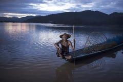 Fisherman of mekong Stock Photos