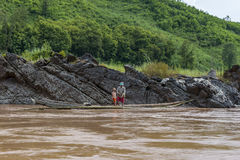 Fisherman Mekong river, Laos Royalty Free Stock Photos