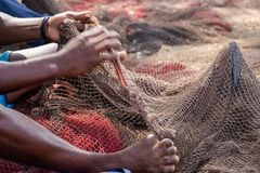 Fisherman mending nets. Burgundy, black, white, gray. Fisherman mending nets. Fishing nets. Floats on the fishing net stock photo