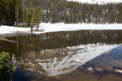Fisherman on the Mirror Lake.   Uinta-Wasatch-Cache National For Royalty Free Stock Images
