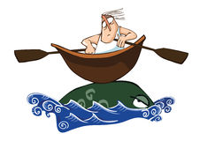 Fisherman and monster. Stylized illustration of a fisherman finding a monster in the sea Royalty Free Stock Image