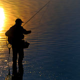 Fisherman morning. View of morning from Slovak water mara Stock Photos