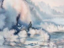 Fisherman in the morning mist clouds. Landscape with boat on the lake and fisherman. Mist clouds. Picture created with watercolor Royalty Free Stock Images