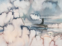 Fisherman in the morning mist smoking. Landscape with boat on the lake and fisherman. Mist clouds. Picture created with watercolor Royalty Free Stock Photography