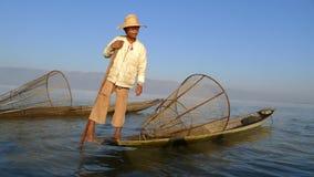 Fisherman in Myanmar royalty free stock image