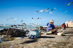 Fisherman near the ancient walls of Essaouira, Morocco Stock Photo