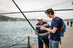 Fisherman near the Bosphorus in Istanbul, Turkey Stock Photography