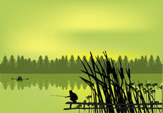 Fisherman near green forest lake Royalty Free Stock Image