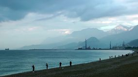 Fisherman near the Seaside. Video. Location is Antalya, Turkey stock footage