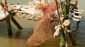 Fisherman net, fishing net, Fish cage net, fish catch, stock video footage