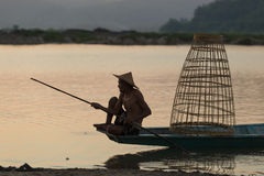 Fisherman old alone Royalty Free Stock Photo