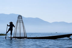 Fisherman On Inle Lake Stock Photo