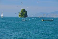 Fisherman On Lake Geneva Royalty Free Stock Images