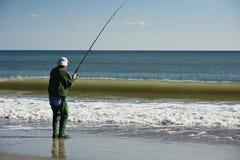 Fisherman on Outer Banks stock image