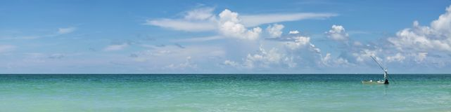 Fisherman. Panoramic view of fishing boat in Gulf of Mexico,Anna Maria Island,Florida stock images
