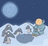 The fisherman and penguins. The Eskimo Royalty Free Stock Photo