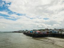Fisherman pier in Balikpapan, Kalimantan, Indoensia. On a sunny day Royalty Free Stock Photography