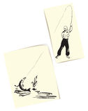 Fisherman and pike. Figure fisherman and pike. Creative drawing. Vector illustration Stock Images