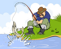Fisherman and pike Stock Images