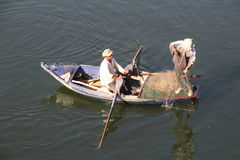 Fisherman plying their trade on the river Nile Stock Photos