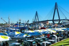 Fisherman port at the fish market with the beautiful view of Anzac bridge. royalty free stock photos