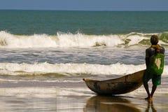 Fisherman pulling a fishing net. On madagascar beach royalty free stock photo