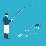 Fisherman pulls the catch. In  format eps10 Stock Photography