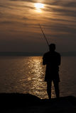 Fisherman in Punta del Este Beach Uruguay Stock Image