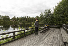 Fisherman on a ramp Stock Photo