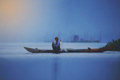 Fisherman in Rawa Pening Stock Photos