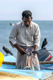 A fisherman removes fish from a net on Arugam Bay beach on the east coast of Sri Lanka. Royalty Free Stock Photos