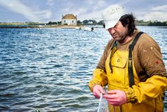 Fisherman repairing nets in front a small island with a cottage on it in the Etel River, Ile de Saint-Cado, Brittany, France. royalty free stock images