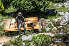 Fisherman resting on a bench, Turin, Italy Stock Photo