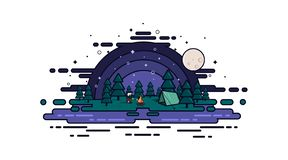 Fisherman resting in the night forest vector illustration